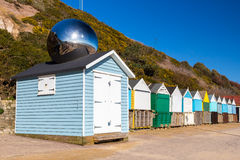 Middle Chine Beach Huts Dorset Stock Photos
