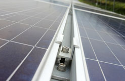 Middle Clamp of Solar PV Panel Installation Royalty Free Stock Images