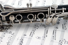 Middle of a clarinet with holes and keys royalty free stock photos