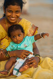 Middle Class Indian Woman Baby Tourists Goa Royalty Free Stock Photo
