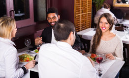 Middle class people enjoying food Royalty Free Stock Photos