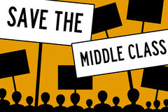 Middle class. Saving the middle class in economic harsh times Stock Images