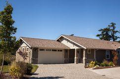 Middle class suburban home. A cute new middle class home is ready for a family in suburban Washington Stock Photo
