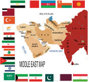 Middle East. Map of Middle East with flag Royalty Free Stock Images