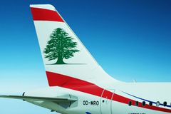 Middle East Airlines - Air Liban plane. Middle East Airlines - Air Liban plane with the logo on the tail is on the blue sky background. The beautiful sky area Stock Photos