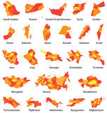 Middle East and Arabic countries vector maps Royalty Free Stock Image