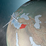 Middle East as seen from space, drone. Middle East as seen from space. Air attack against Syria Stock Photos