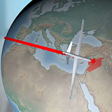 Middle East as seen from space, drone. Middle East as seen from space. Air attack against Syria Royalty Free Stock Photography