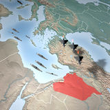 Middle East as seen from space, Syria. Middle East as seen from space. Attack against Syria Royalty Free Stock Photos