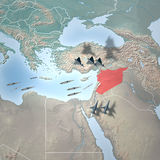 Middle East as seen from space, Syria. Middle East as seen from space. Attack against Syria Royalty Free Stock Photo