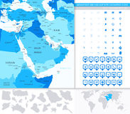 Middle East and Asia Map with Navigation Icons Stock Photography