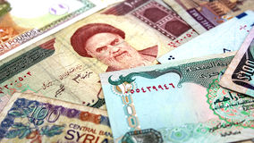 Middle East Banknotes. A group of banknotes from middle east Royalty Free Stock Image