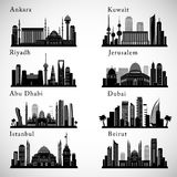 Middle East Cities skylines set. Middle east landmarks vector silhouettes Royalty Free Stock Photos