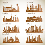 Middle East Cities skylines set. Middle east landmarks vector silhouettes Royalty Free Stock Photo