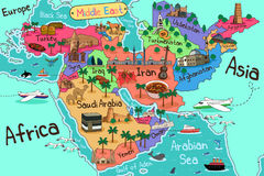Free Middle East Countries Map In Cartoon Style Royalty Free Stock Photography - 95575187