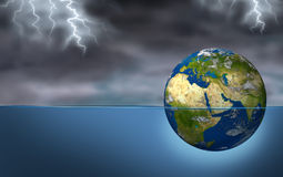 Middle East In Crisis. Middle East crisis as a planet earth sphere sinking during a dark thunder and lightning storm as turmoil and political struggles of the Royalty Free Stock Image