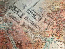 Middle east and currency Puzzle Royalty Free Stock Photo