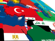 Middle East on 3D map with flags Stock Images