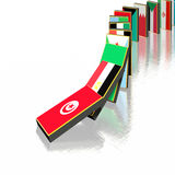 Middle East domino effect. Illustration Tunisia, Egypt, Algeria, Bahrain Royalty Free Stock Photos