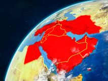 Middle East on Earth with borders. Middle East on realistic model of planet Earth with country borders and very detailed planet surface and clouds. 3D stock photos