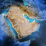 Middle East. Elements of this image furnished by NASA. 3D rendering royalty free illustration
