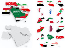Middle east flags compilation. On white Royalty Free Stock Photo