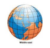 Middle East Globe. Surrounding by white background Vector Illustration