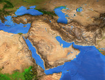 Middle East - High resolution map. Middle East map - Gulf Region. Detailed satellite view of the Earth and its landforms. Elements of this image furnished by royalty free stock photography