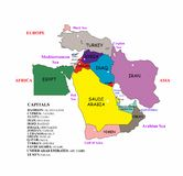 Middle East map Royalty Free Stock Photography