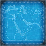 Middle East map blueprint Stock Image