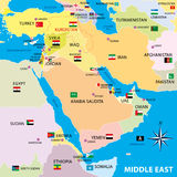 Middle east map with borders and flags Royalty Free Stock Image