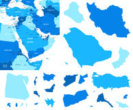 Middle East map and country contours - Illustration. Royalty Free Stock Photos