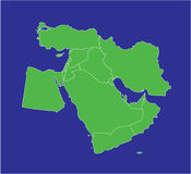 Middle East Map 2. A country map of the middle east in green and blue vector illustration