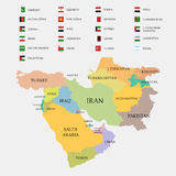 Middle East map and flags Royalty Free Stock Images