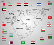 Middle east map set of states and flags. High detailed silhouette illustration isolated on white background. Middle east countries collection illustration vector illustration