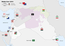 Middle east 2015 map Royalty Free Stock Photo