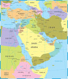 Middle East Map - Vector Illustration. Middle East Map - Detailed Vector Illustration stock illustration