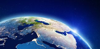 Middle East and Mediterranean. Elements of this image furnished by NASA. 3d rendering royalty free stock image