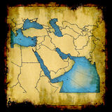 Middle East old map. Antique faded map of the Middle East royalty free stock photography