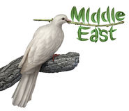 Middle East Peace Plan. And diplomacy concept with a white dove holding an olive branch with the leaves in the shape of the word that includes persian gulf Iran Stock Image
