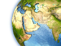 Middle East. Planet Earth with embossed continents and country borders. Middle East. Elements of this image furnished by NASA Stock Image
