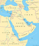 Middle East political map. With capitals and national borders. Transcontinental region centered on Western Asia and Egypt. Also Middle-Eastern, Near or Far East stock illustration