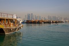 Middle East, Qatar, Doha, Harbour Boats & West Bay Central Financial District from East Bay District. Harbour Boats & West Bay Central Financial District from stock photos