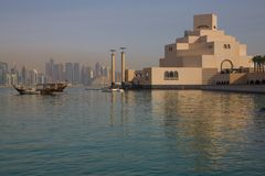 Middle East, Qatar, Doha, Museum of Islamic Art & West Bay Central Financial District from East Bay District. View of Museum of Islamic Art & West Bay Central stock photo