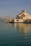 Middle East, Qatar, Doha, Museum of Islamic Art & West Bay Central Financial District from East Bay District. View of Museum of Islamic Art & West Bay Central stock photography