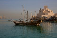 Middle East, Qatar, Doha, Museum of Islamic Art & West Bay Central Financial District from East Bay District. View of Museum of Islamic Art & West Bay Central royalty free stock photography