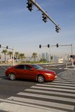 Middle East, Qatar, Doha, Traffic on The Corniche & West Bay Central Financial District Royalty Free Stock Photography
