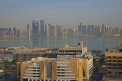 Middle East, Qatar, Doha, West Bay Central Financial District from East Bay District. View of West Bay Central Financial District from East Bay District Middle stock image