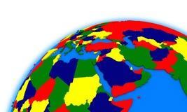 Middle east region on globe political map stock illustration
