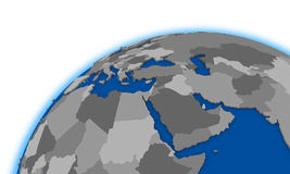 Middle east region on globe political map Royalty Free Stock Photography